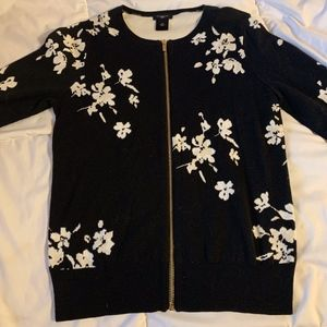 Ann Taylor Zip Up Formal and Floral Top